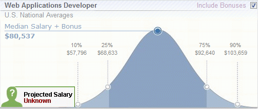 Average pay for a web applications developer (src: payscale.com)