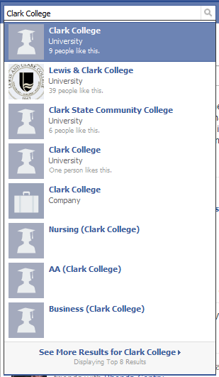 Facebook Quick Results FAIL for Clark College