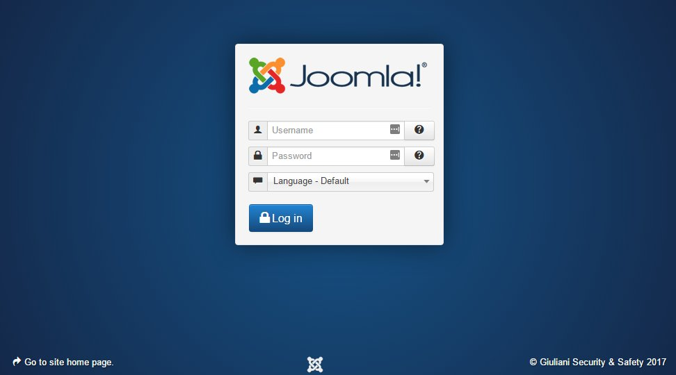 Joomla backend login screen