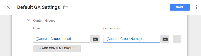 Content Groups in Google Tag Manager