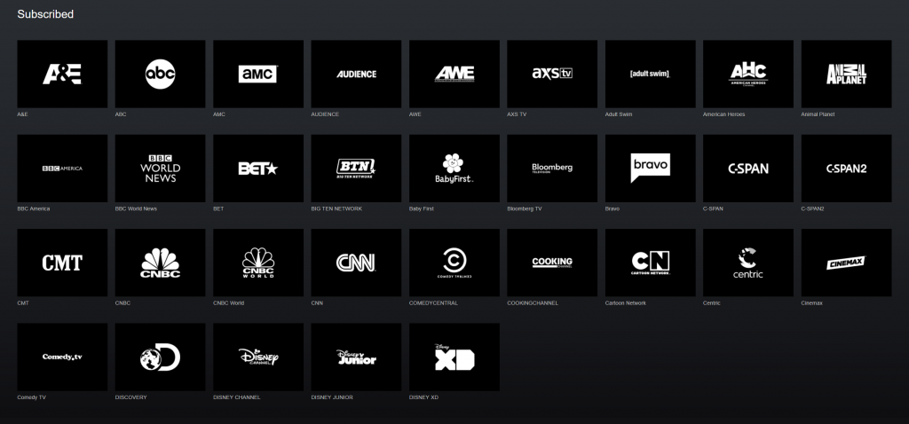 You get 100 channels, but here's the first 40 because meh.